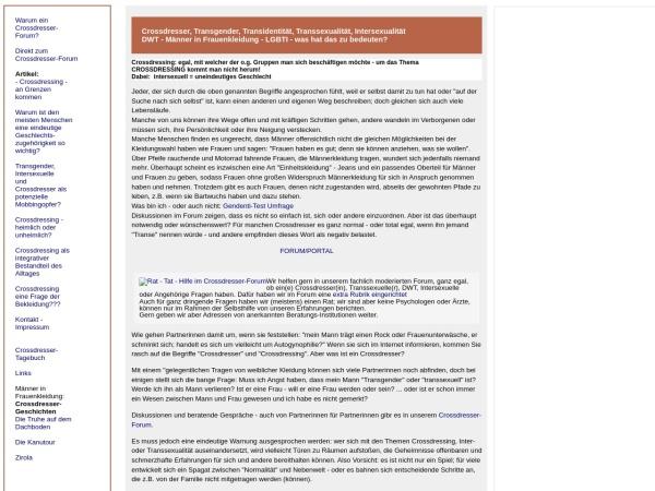 Screenshot von www.crossdresser-forum.com