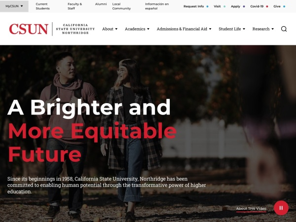Screenshot of www.csun.edu