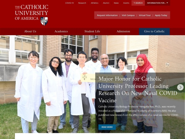 Screenshot of www.cua.edu