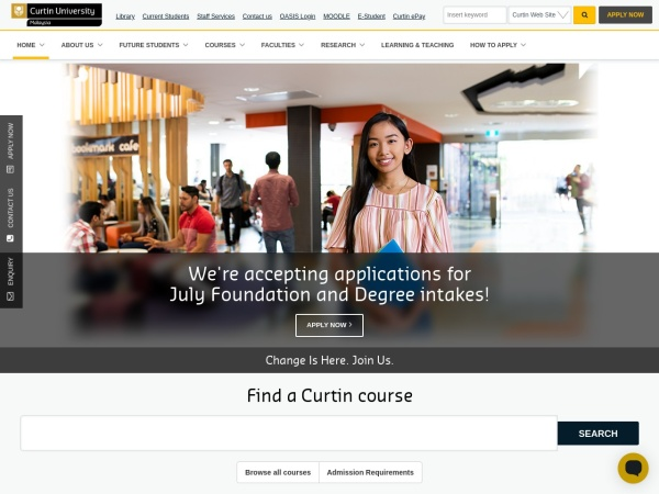 Screenshot of www.curtin.edu.my