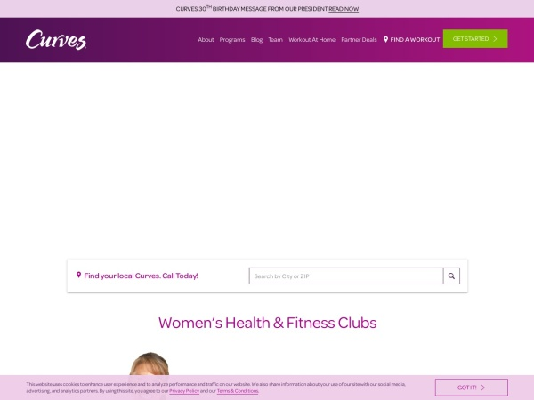 Screenshot of www.curves.com