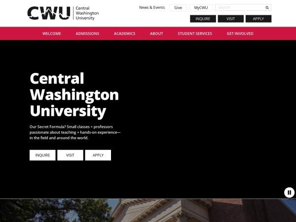 Screenshot of www.cwu.edu