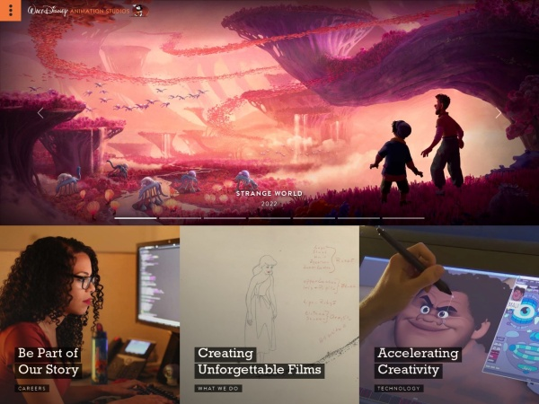 Screenshot of www.disneyanimation.com