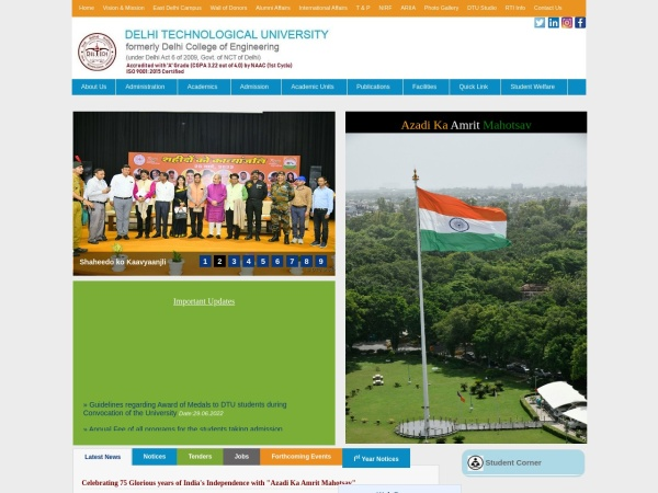 Screenshot of www.dtu.ac.in