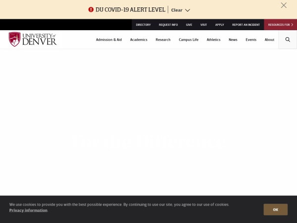 Screenshot of www.du.edu