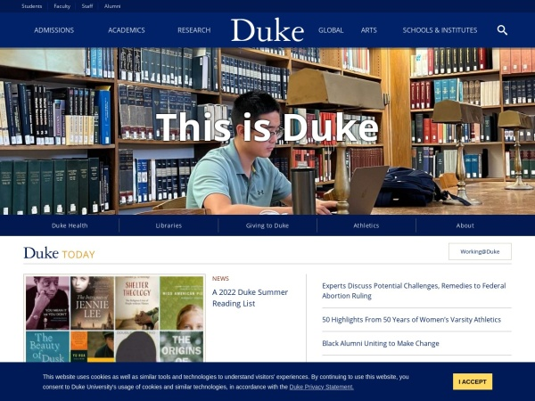 Screenshot of www.duke.edu