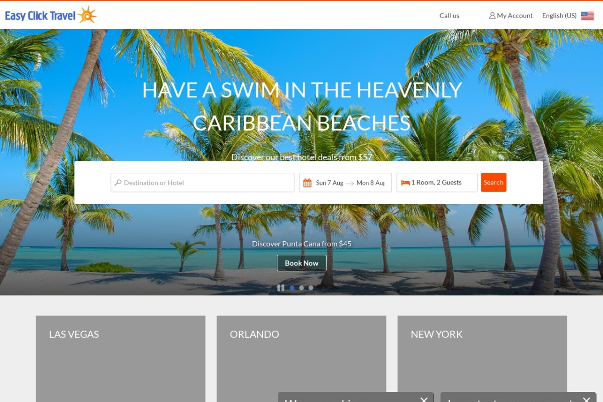 Screenshot of www.easyclicktravel.com