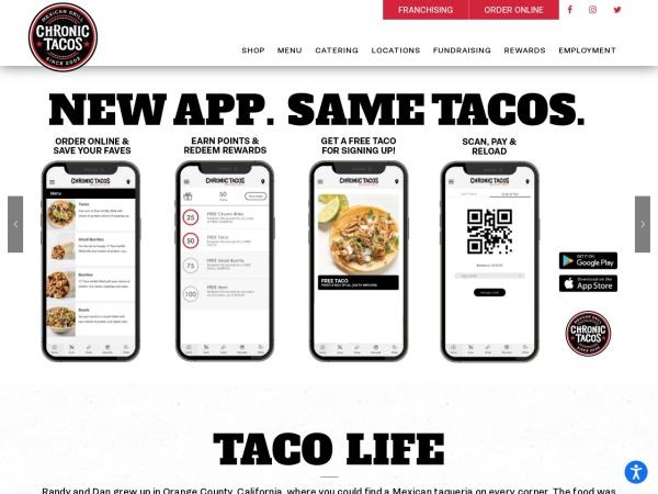 Screenshot of www.eatchronictacos.com