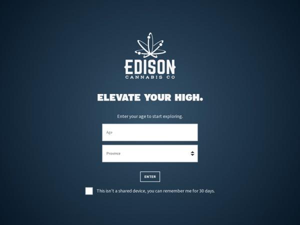 Screenshot of www.edisoncannabis.co