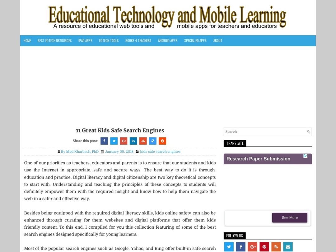 Screenshot of www.educatorstechnology.com