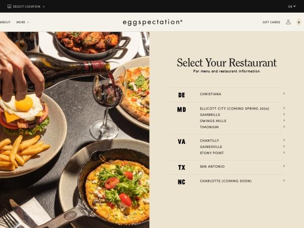 Screenshot of www.eggspectation.com
