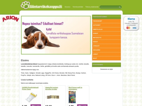 Eläintarvikkeita myyvä kauppa.
