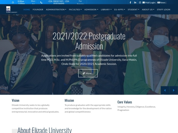 Screenshot of www.elizadeuniversity.edu.ng