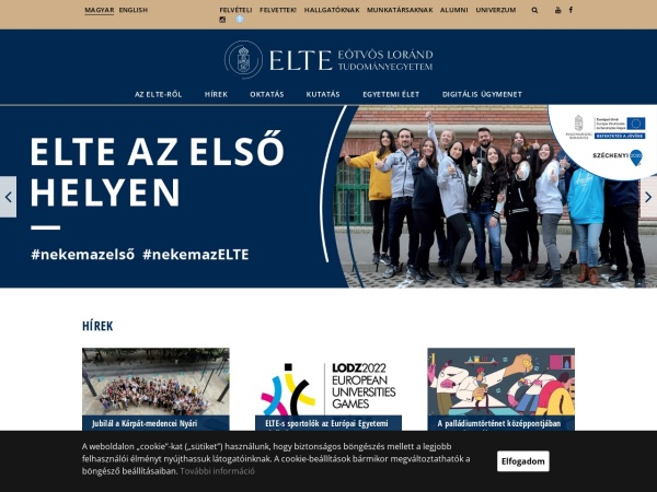 Screenshot of www.elte.hu