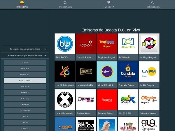 Captura de pantalla de www.emisorascolombianas.co