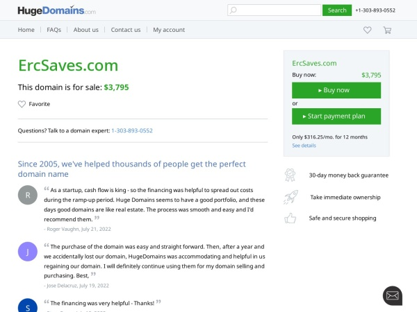 Screenshot of www.ercsaves.com