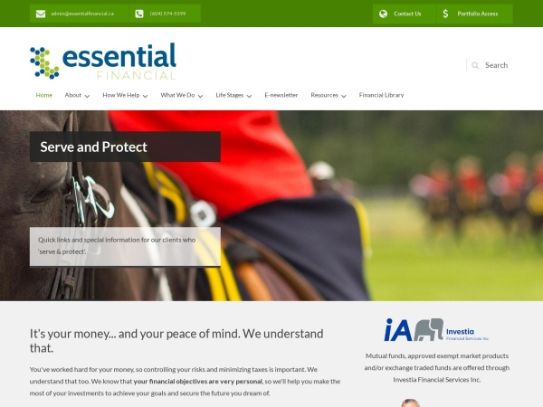 Screenshot of www.essentialfinancial.ca