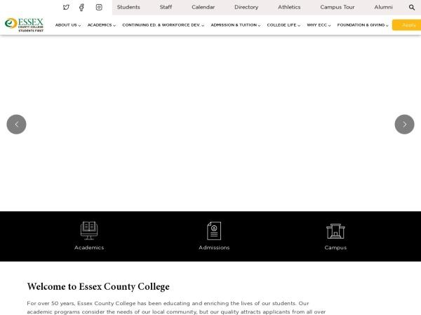 Screenshot of www.essex.edu