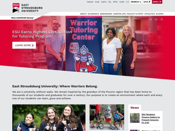 Screenshot of www.esu.edu
