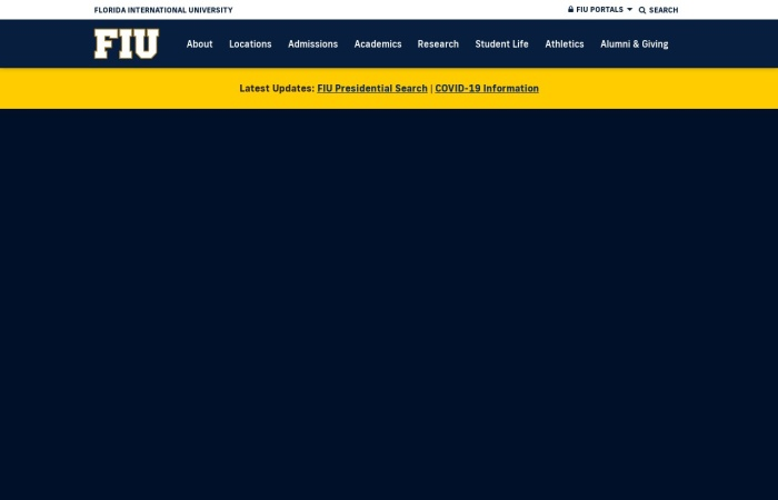 Screenshot of www.fiu.edu