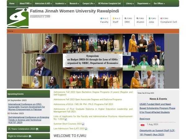Screenshot of www.fjwu.edu.pk