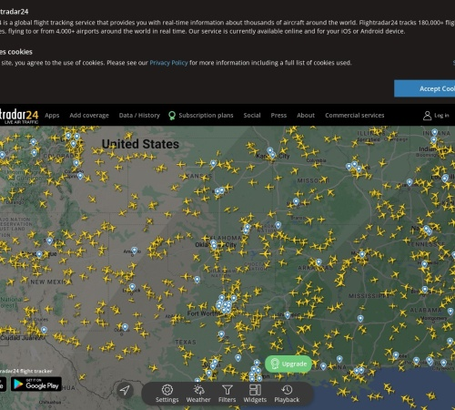 Screenshot of www.flightradar24.com