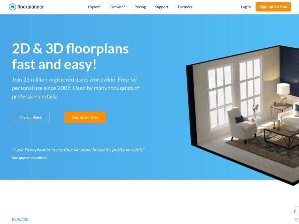 Screenshot of www.floorplanner.com