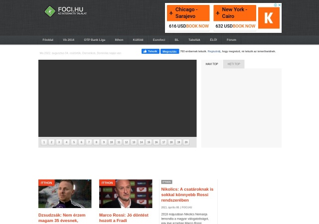 Screenshot of www.foci.hu
