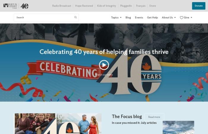 Screenshot of www.focusonthefamily.ca