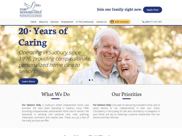 Screenshot of www.forseniorsonly.ca