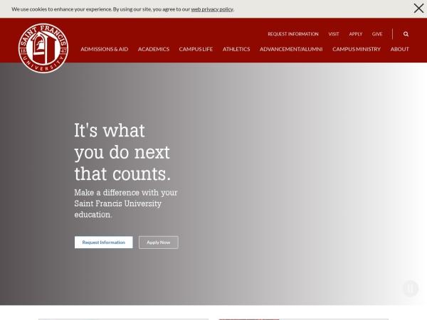 Screenshot of www.francis.edu