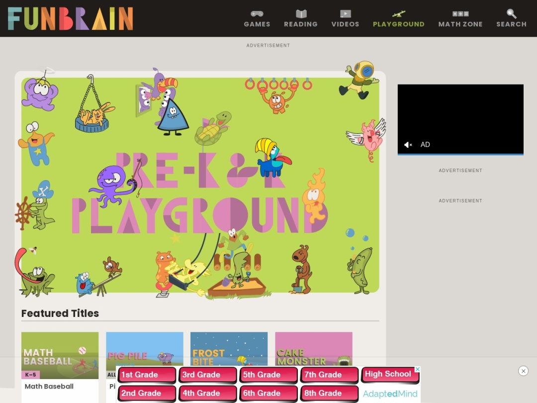 Screenshot of www.funbrain.com