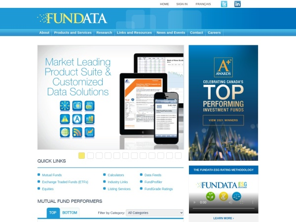 Screenshot of www.fundata.com