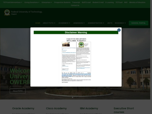 Screenshot of www.futo.edu.ng