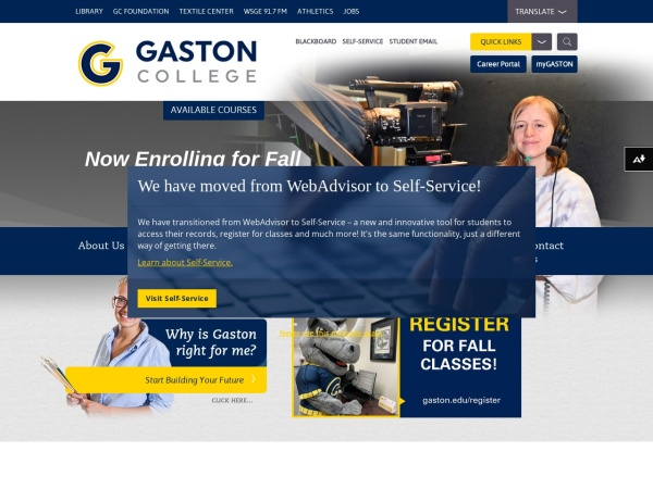 Screenshot of www.gaston.edu