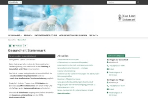 Screenshot of www.gesundheit.steiermark.at
