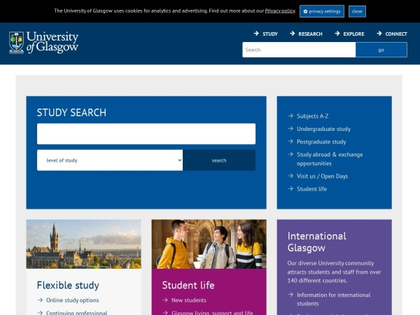 Screenshot of www.gla.ac.uk