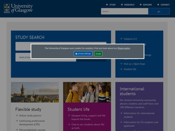 Screenshot of www.gla.ac.uk