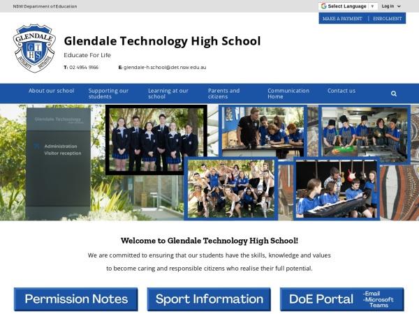 Screenshot of www.glendale-h.schools.nsw.edu.au