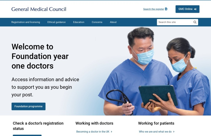 Screenshot of www.gmc-uk.org