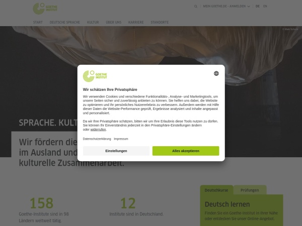 Screenshot of www.goethe.de