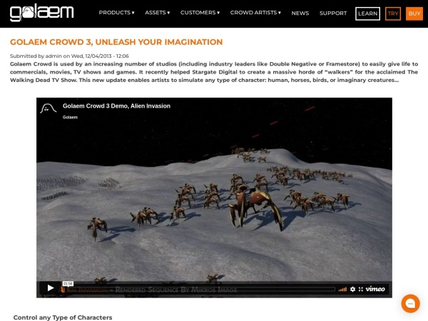 Screenshot of www.golaem.com