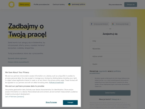Screenshot of www.goldenline.pl