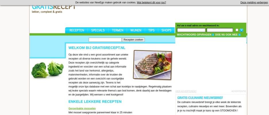 Screenshot of www.gratisrecept.nl