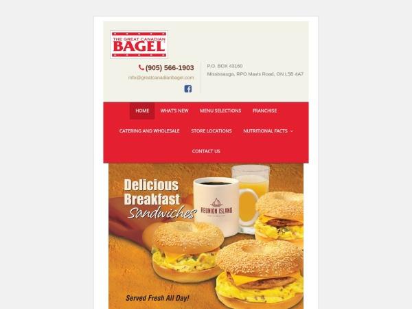 Screenshot of www.greatcanadianbagel.com