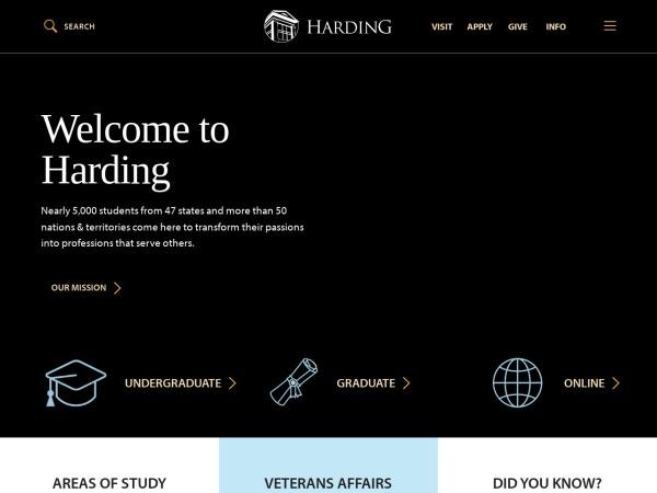 Screenshot of www.harding.edu