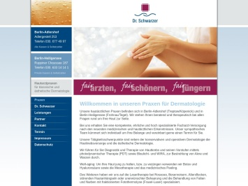 Screenshot von www.hautarzt-schwarzer.de