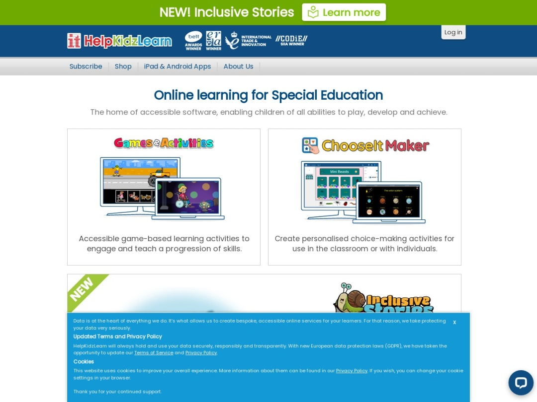 Screenshot of www.helpkidzlearn.com