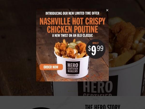 Screenshot of www.heroburgers.com