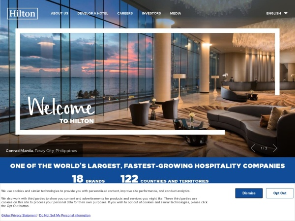 Screenshot of www.hiltonworldwide.com